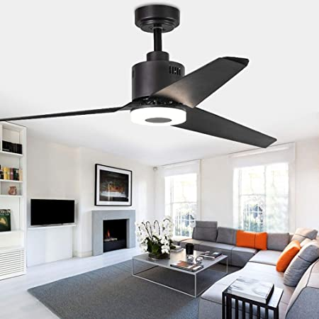 Indoor Ceiling Fan Light Fixtures – FINXIN FXCF10 Black Bronze Remote LED 52 Ceiling Fans For Bedroom,Living Room,Dining Room Including Motor,3-Blades,Remote Switch
