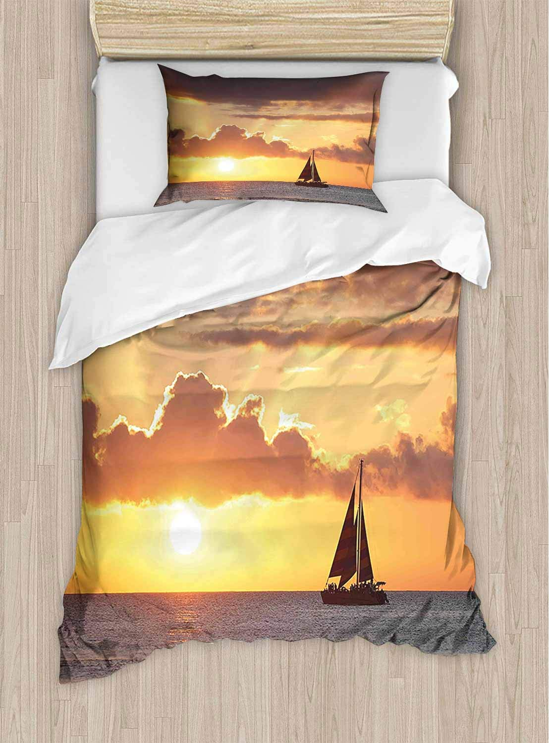 shirlyhome Extra Soft Luxury Hotel Sheets A Boat in The Ocean and Cloudy Sky at Beautiful Sunset Digital Image Long Durable - X-Long Twin