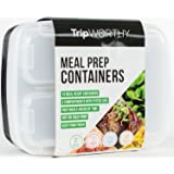 Meal Prep Containers with 3 Compartments - Portion Control, BPA-Free, Reusable, Microwave Safe Bento-Style Boxes, Set of 10 by TripWorthy