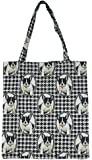 Signare Tapestry Black and White Reusable Grocery Eco Friendly Shopping Tote Bag in Dog Design (French Bulldog)
