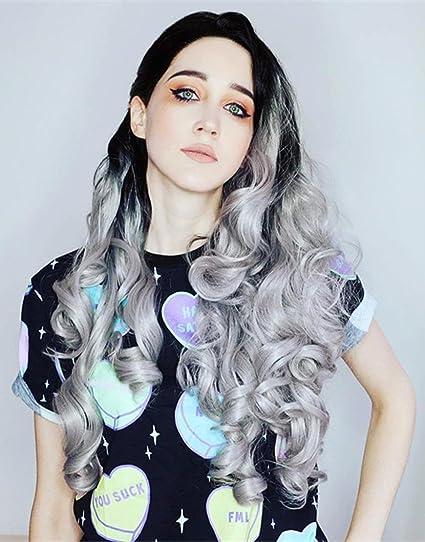 musegets Ombre plateado Wave peluca Lace Front sintético resistente al calor para las mujeres