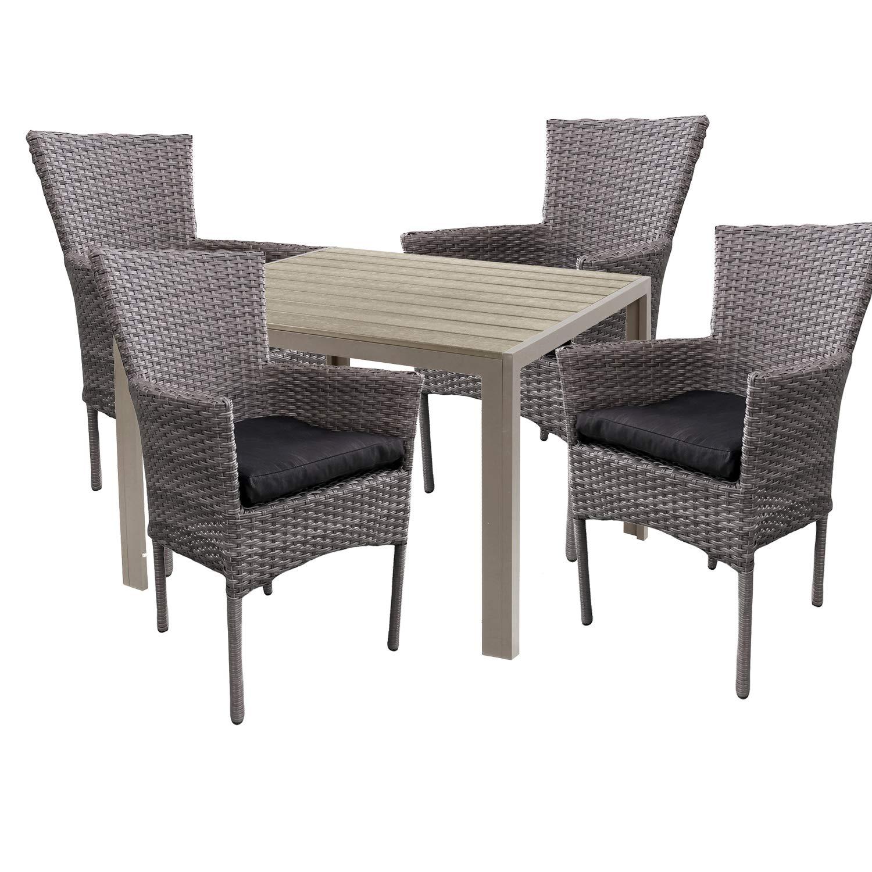 Mojawo Hochwertige Gartengarnitur 5-teilig Gartentisch 90x90cm Champagner Aluminium/Polywood Champagner + 4 Rattansessel grau-meliert