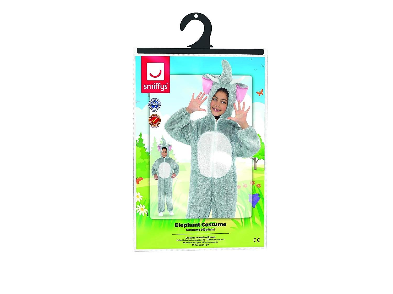Smiffys-30020 Disfraz de Elefante, con Traje Entero con Capucha, Color Gris, M-Edad 7-9 años (SmiffyS 30020)