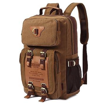 Vintage Mochilas Lona Hombre / Mujer Mochila Casual Backpacks Canvas Unisex (Caqui): Amazon.es: Equipaje