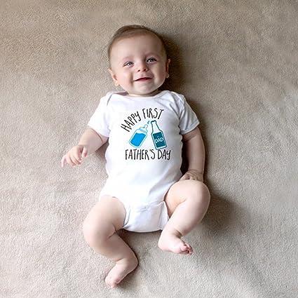Guguogo recién nacido unisex bebé pelele con patrón de botella de agua y letras impresas white
