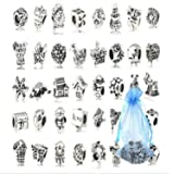 NO:1 40pcs Antique Silver Plated Oxidized Metal Beads Charms September Mix Lot - Compatible with Pandora Biagi Troll Chamilia Bracelets