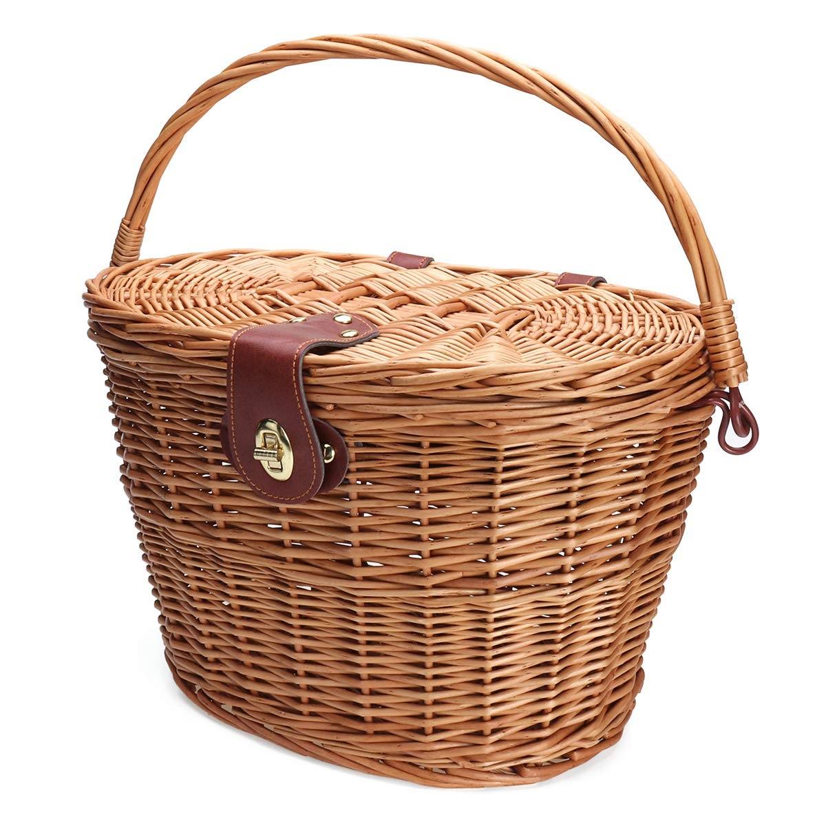 TENGGO Trendy Classic Removable Wicker Cycling Bicycle Front Basket Box Bike Basket With Cover