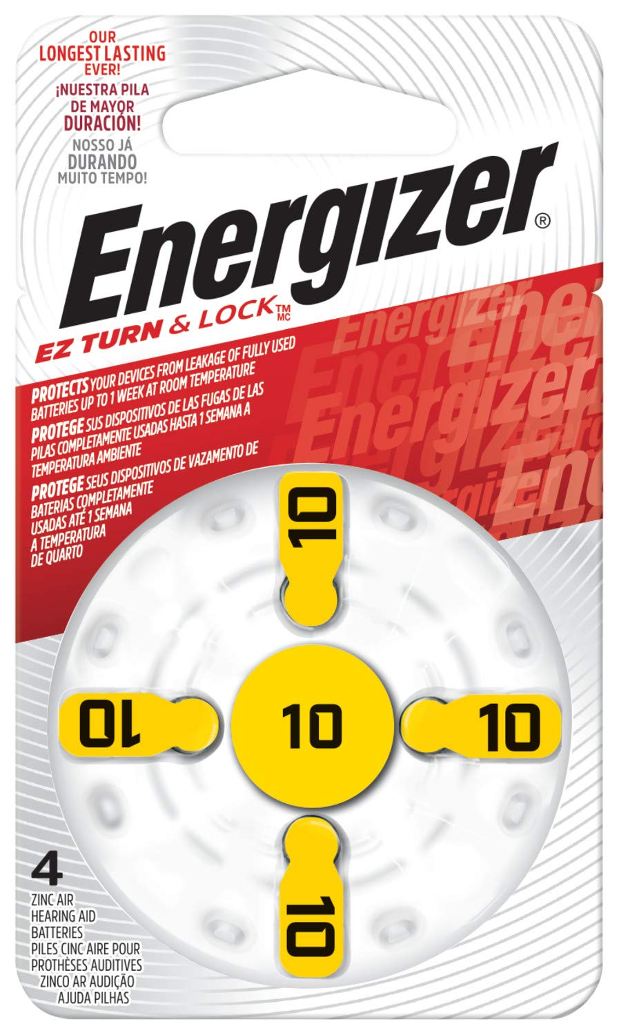 Energizer EZ Turn & Lock 10 Hearing Aid Battery, 96-Count by Energizer