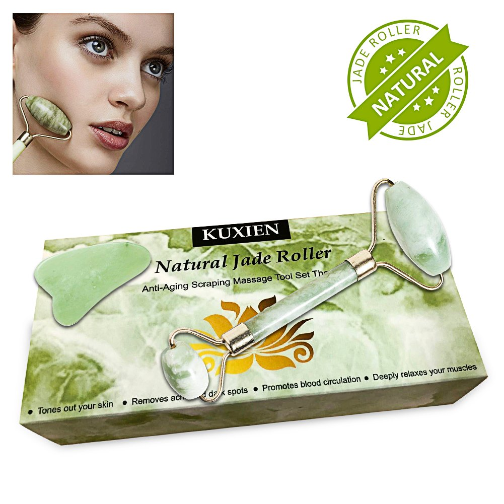 Jade Roller, Jade Roller for Face, Jade Roller Massager, Natural Jade Facial Roller,Anti Aging Jade roller set with Gua Sha Scraping Tool - SPA Face Massage Anti Aging Cold Therapy Beauty Sliming To