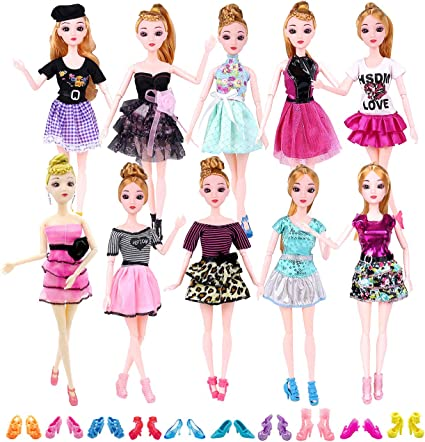 5pcs Tops+5pcs Pants Fashion Stylish Clothes for 28 cm Doll Girls Kids Gifts