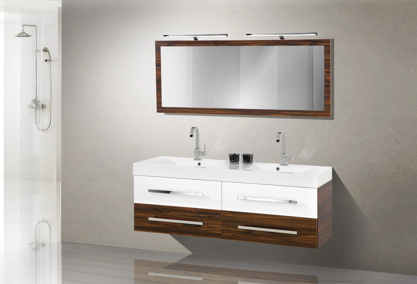 Badmöbel Set mit Waschbecken und Doppelwaschtisch 160 cm günstig kaufen