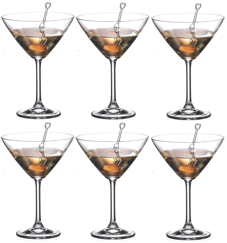 Set Of 6 Crystalite Bohemia Martini Glasses Colibri Crystal Martini Cocktail Glass 280ml