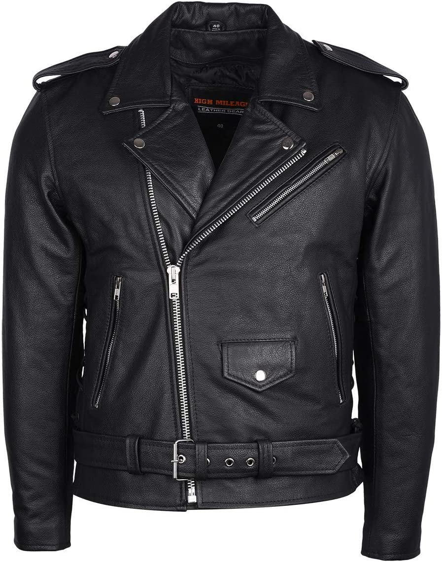 Brown, 36 Mens Silver Eagle Embossed Live To Ride Ride To Live Classic Black Leather Motorcycle Biker Jacket
