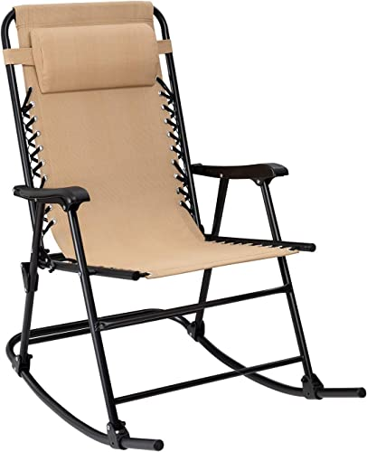 Flamaker Patio Rocking Chair Zero Gravity Chair Outdoor Folding Recliner Foldable Lounge Chair Outdoor Pool Chair for Patio, Poolside and Camping Beige