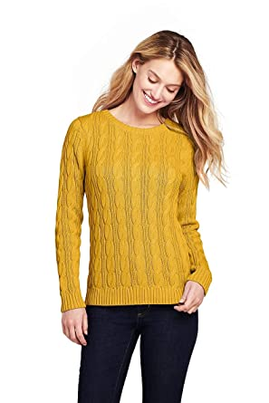 6233d75bb53188 Lands' End Women's Drifter Cotton Cable Knit Sweater Crewneck, XS, Atlas  Yellow