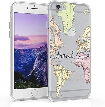 kwmobile Coque Compatible avec Apple iPhone 6 / 6S - Housse Protectrice pour Téléphone en Silicone Carte du Monde Voyage Noir-Multicolore-Transparent