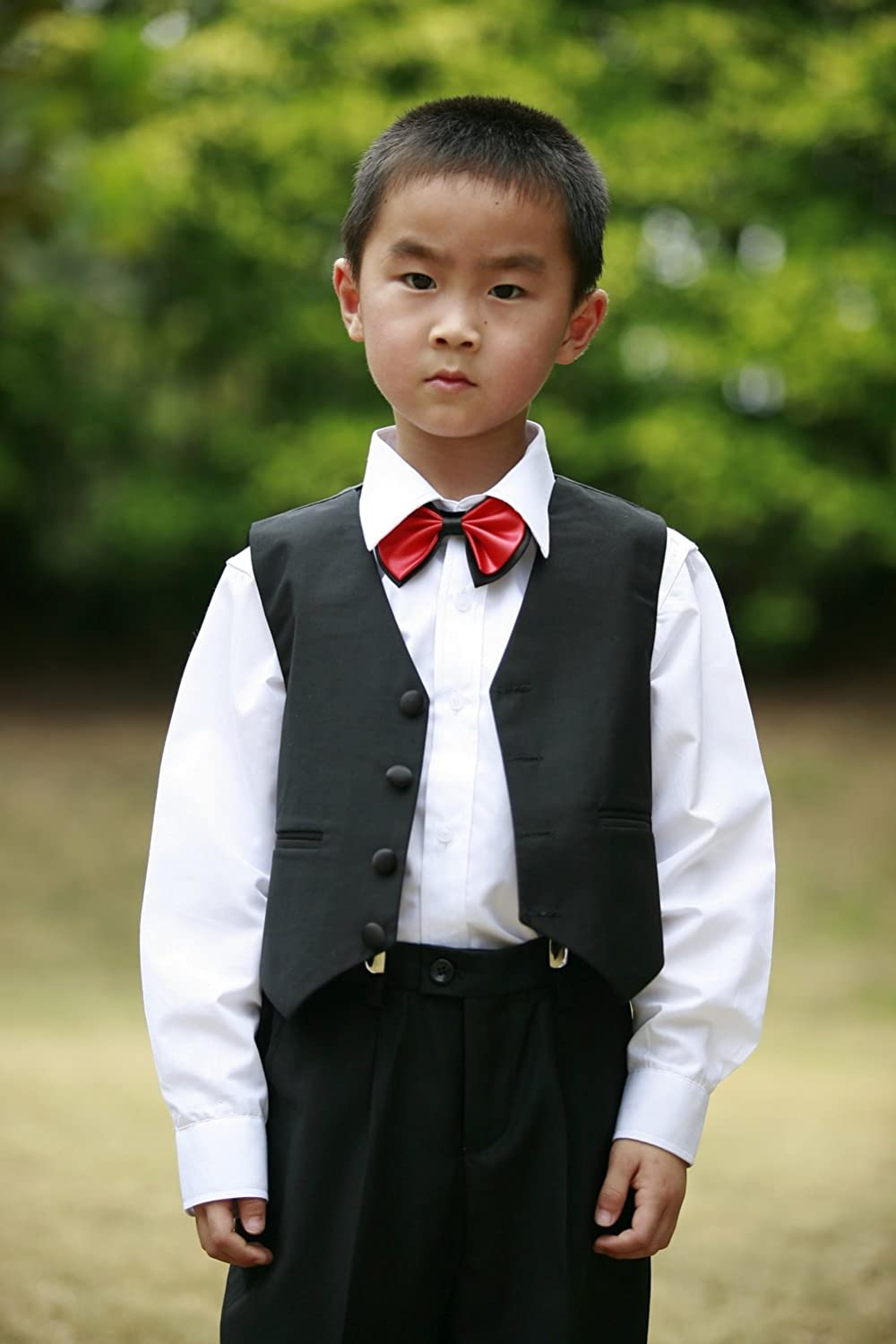 Boys Single Breasted Jacket Vest Pants 3 pieces Tuxedo without tail