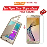 Sun Tigers Combo of 2 Flip Case Cover And Premium Tempered Glass for Samsung Galaxy On7 -Gold