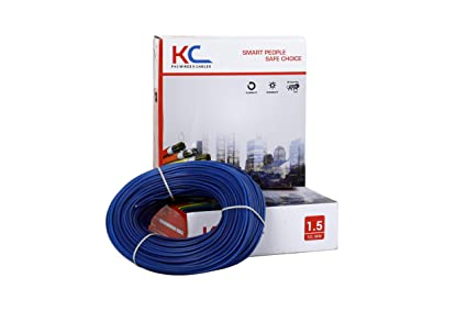 KC Cab 90m and 1.5Sqmm Copper PVC Insulated Wire Coil for Home(Blue)