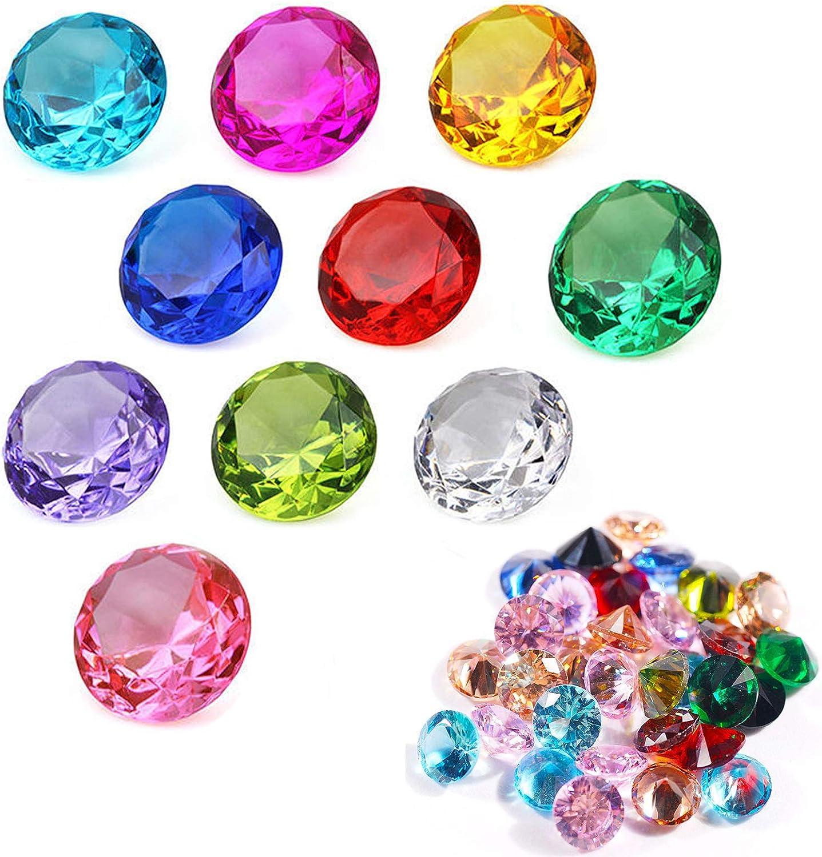 Decoración de Color Acrílico Piedra de Cristal Transparente Decoración Brillantes Piedras Cuadradas Acrílico Piedras Gemas de Acrílico Multicolores Para Llenar Jarrones Decorar Bodas Fiestas 5 PCS