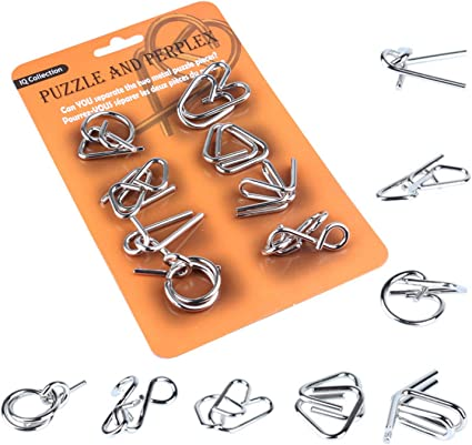 8Pcs//Set Brain Teaser Mind Puzzles Game Metal Wire IQ Test Disentanglement Puzzles for Adult /& Children Toys