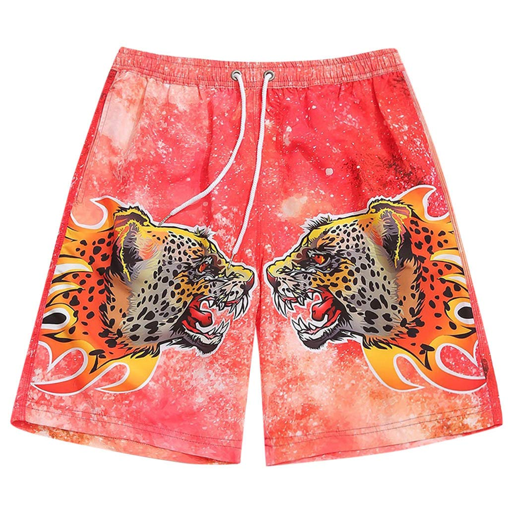 XQXCL Men Summer Sports Beach Pants Cheetah Printing Quick Dry Bunch of Rope Beach Surfing Running Short Pant