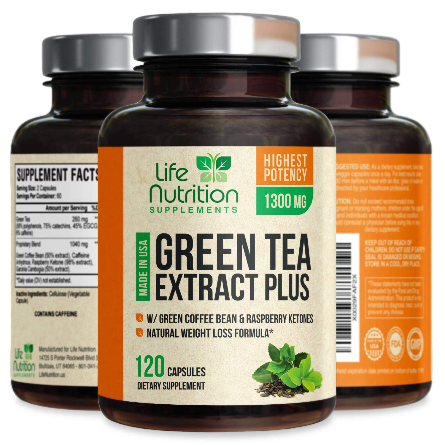 Green Tea Extract 98% with EGCG for Weight Loss 1300mg - Boost Metabolism for Healthy Heart - Antioxidants & Polyphenols for Immune System - Gentle Caffeine - Natural Fat Burner Pills - 120 Capsules