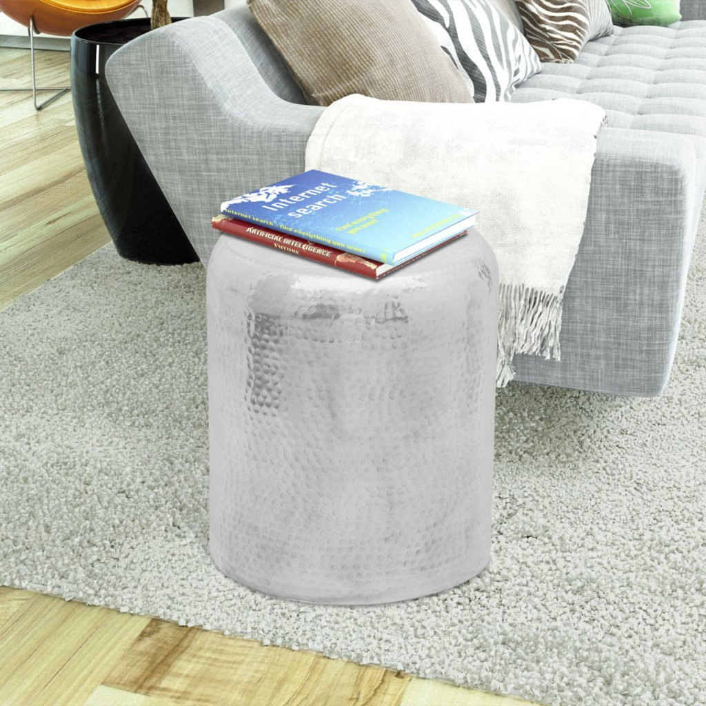 vidaXL Hammered Aluminium Stool Side Table Lamp Coffee Book Plant Stand End Bedside