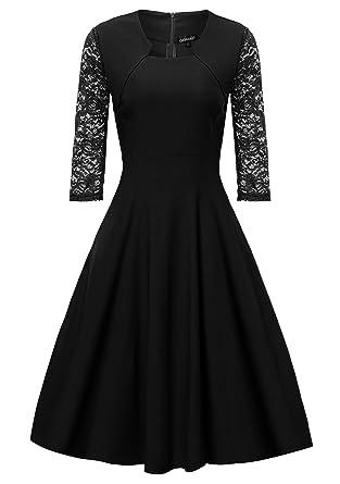 Gigileer Damen Kleider 3 4 Arm mit Spitzen Knielang Abendkleid Minikleid  festlich Cocktail Party Schwarz XXXL  Amazon.de  Bekleidung ca259f96b2