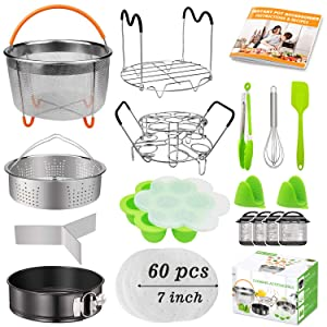 20Pcs Accessories for Instant Pot 6 qt 8qt, Ninja Foodi 8qt - 60 Pcs Parchment Papers, 2 Steamer Baskets, Springform Pan,Stackable Egg Steamer Rack, Instruction & Recipes Book