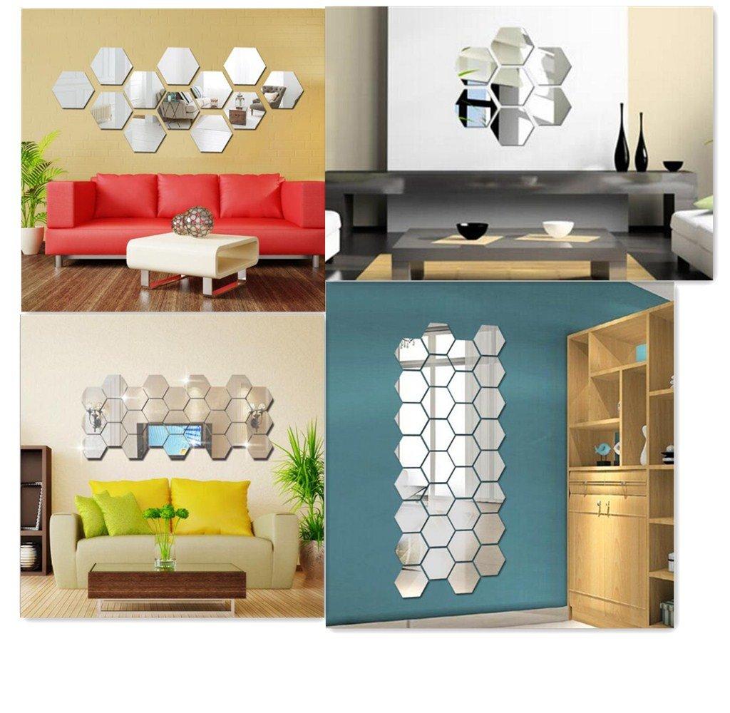 large Yusylvia 1set of 12PCS Hexagon Decorative 3D Acrylic Mirror Wall Stickers Living Room Bedroom Home Decor Room Decoration