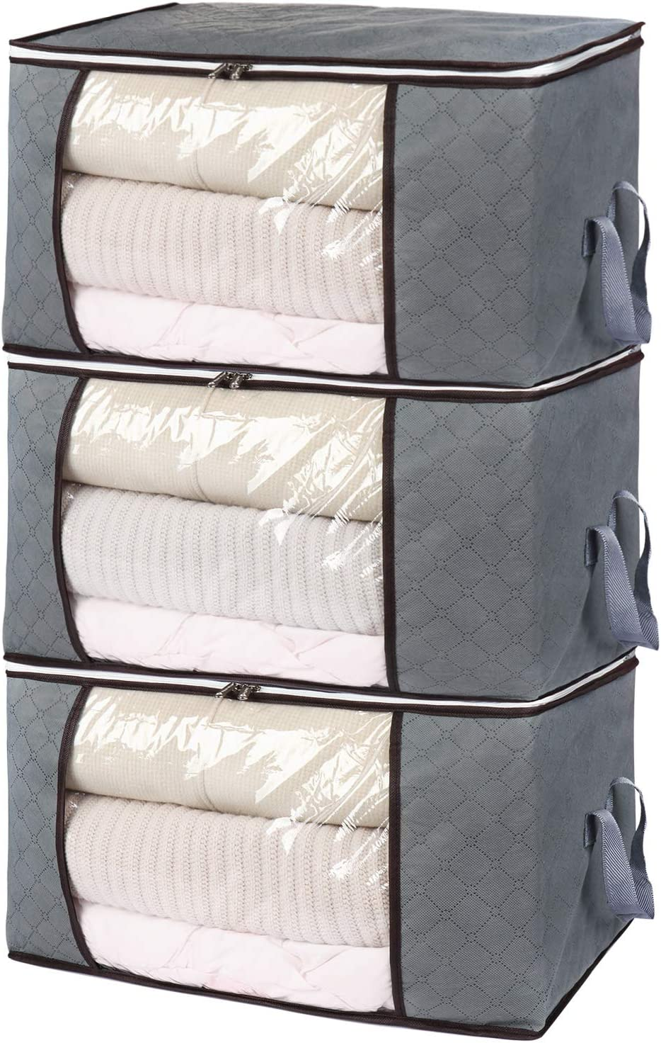 Bedding Thick Breathable Fabric Underbed Storage Bags with Clear Windows Clothes Storage Bags,Duvet Storage Bag King Size Duvets and Blankets Organizer.60 x 35 x 40 cm