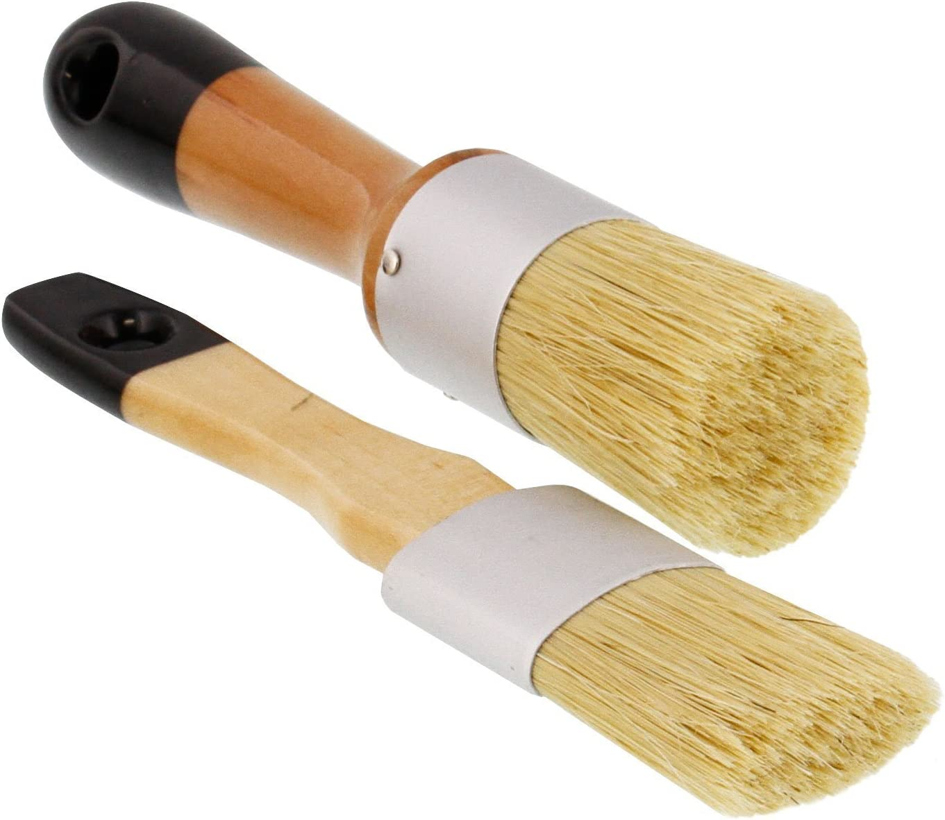 US Art Supply 2-Piece Multi Use Oval and Round Chalk, Wax and Stencil Brushes for Chairs, Dressers, Cabinets and Other Wood Furniture - 100% Natural Bristles, Lightweight and Rust Resistant