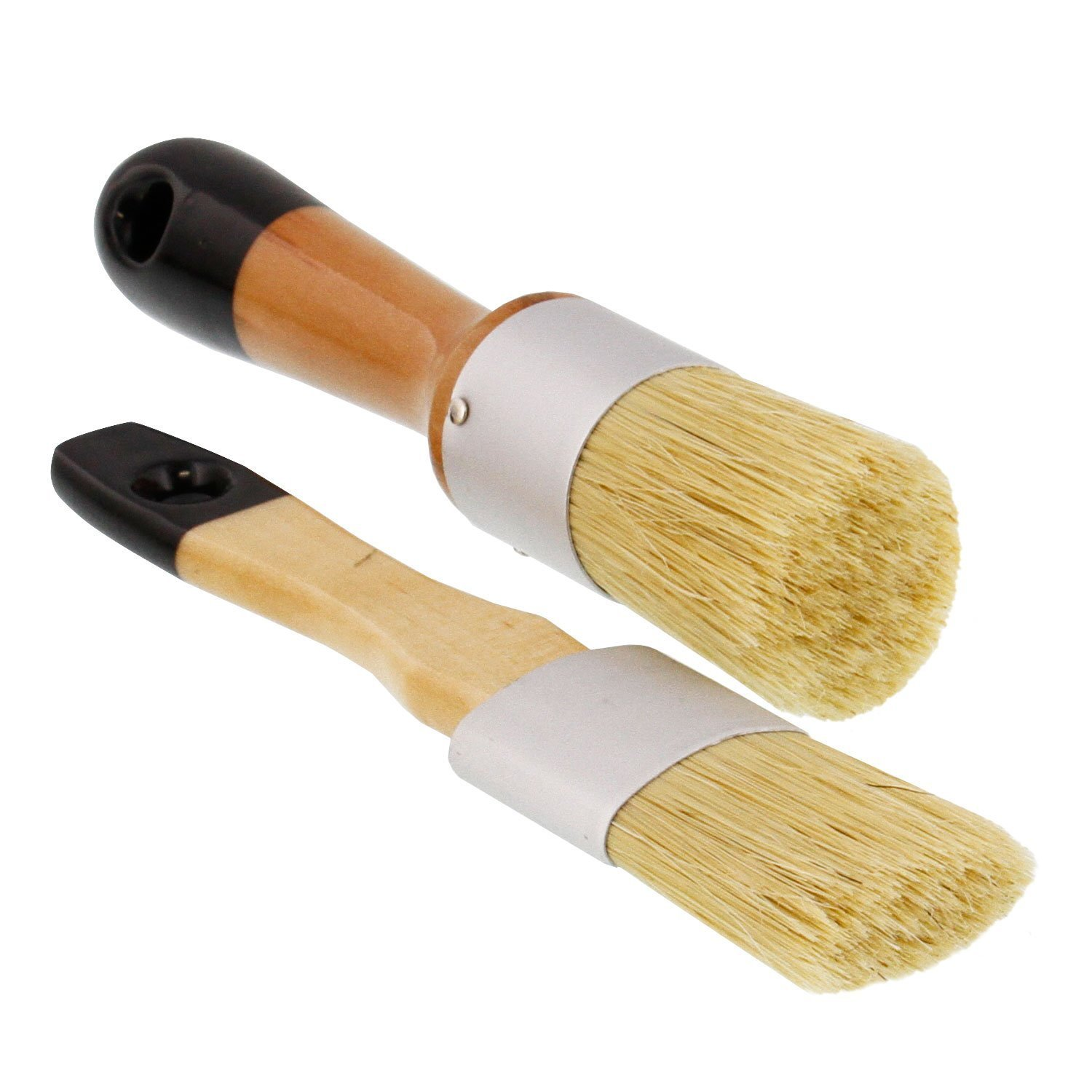 US Art Supply 2-Piece Multi Use Oval and Round Chalk, Wax and Stencil Brushes for Chairs, Dressers, Cabinets and other Wood Furniture - 100% Natural Bristles, Lightweight and Rust Resistant BS-W02