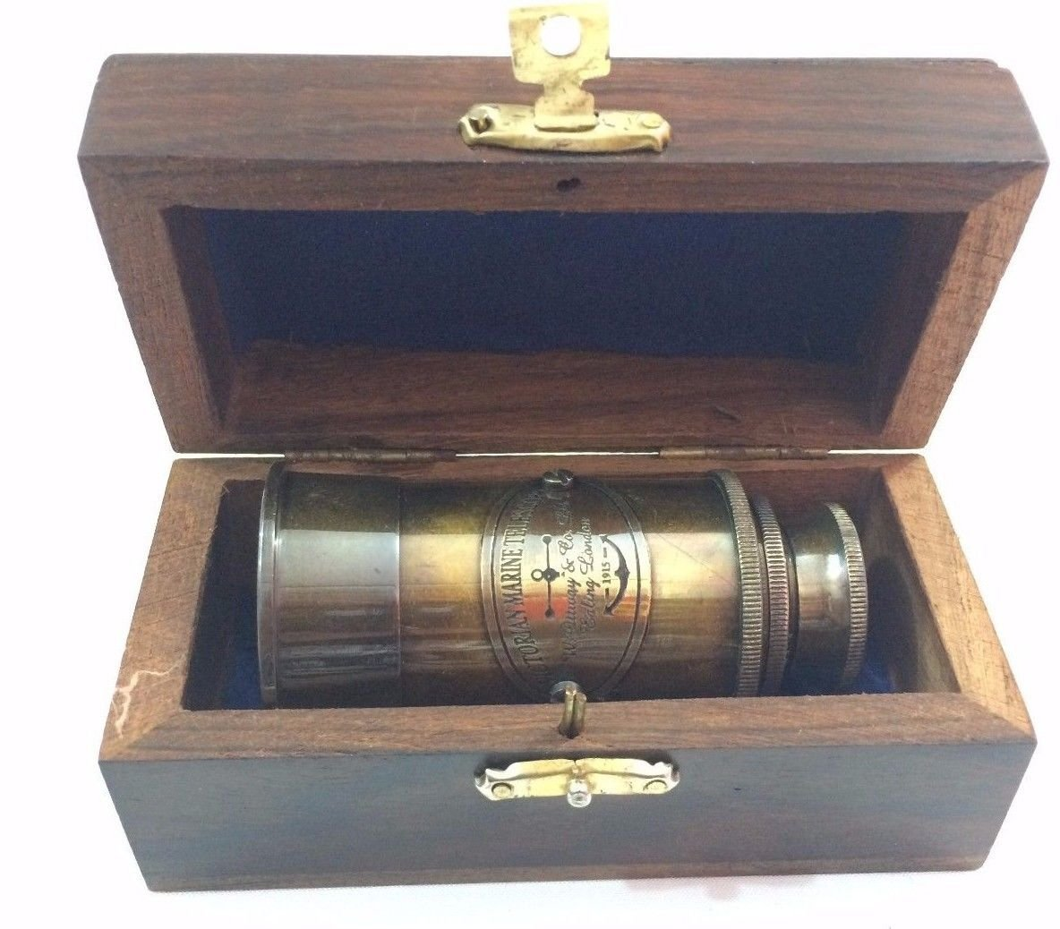 6'' Victorian Brass Telescope Decorative Wooden Box Nautical Maritime Telescope by Marine Nautical Store