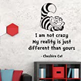 """V&C DESIGNS LTD LARGE CHESHIRE CAT """"I'M NOT CRAZY"""" QUOTE VINYL Children's Wall Sticker Wall Quote Lettering Vinyl Decal Mural Transfer Baby Nursery Children's Bedroom Toddler Room Geometric Playroom Decoration Wall Decor Boys Room Girls Room Lounge Living Room Various Colours Available"""