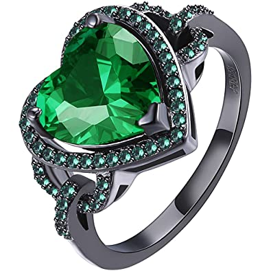 f332f937c437d LWLH Womens Black Gold Plated Green Emerald Cubic Zirconia CZ Heart Love  Knot Promise Ring Wedding Band