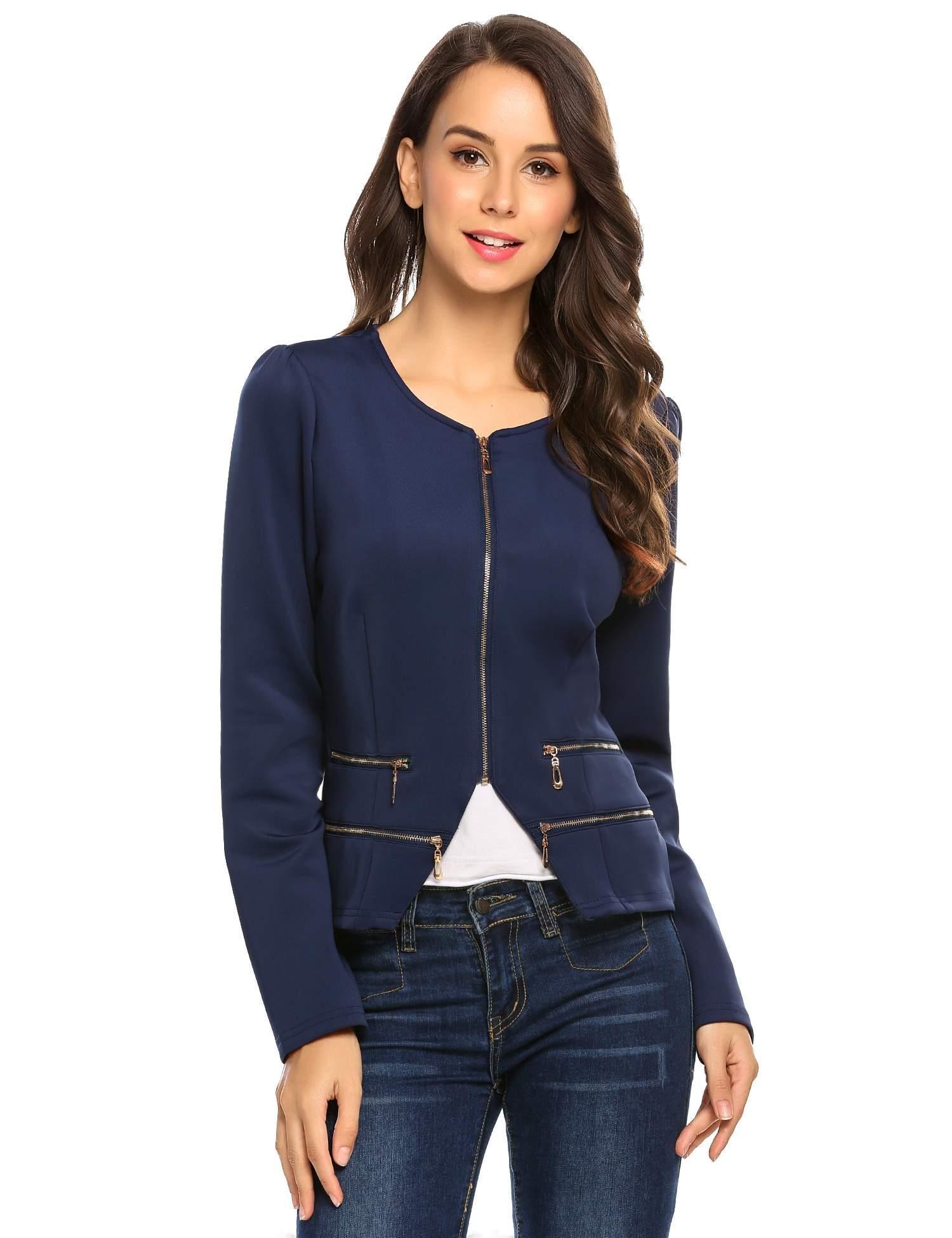 Zeagoo Women's Casual Zipper Cardigan Blazer O Neck Slim Fitted Office Jacket (L, Navy Blue) by Zeagoo (Image #5)