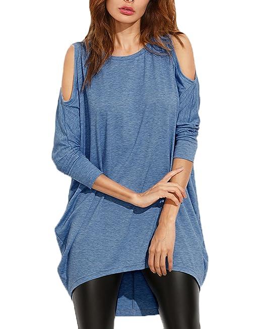Auxo Camisa con Mangas Largas Cuello Redondo Sin Hombros Blusa Casual De Color Sólido Azul EU