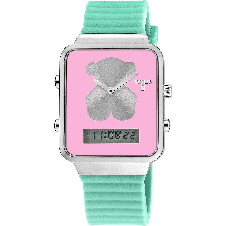 Tous Digital i-bear Damenuhr aus Edelstahl mit Silikon-Armband GrÜn – 700350135