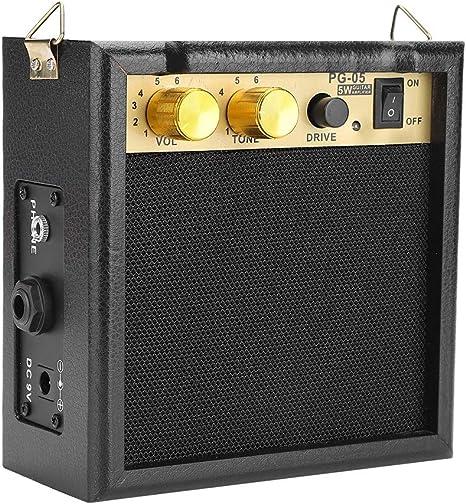 Dilwe Amplificador de Guitarra Eléctrica, PG-05 5W DC 9V Powered ...
