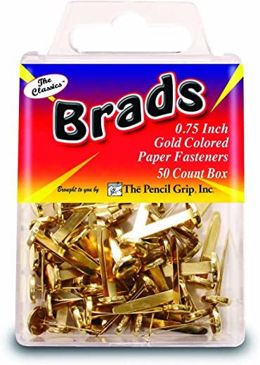 Pencil Grip The Classics Gold Colored Brads, Box of 50 (TPG-372)