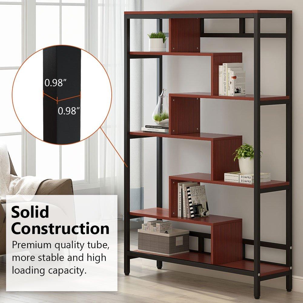 Amazon com little tree industrial bookshelf home furniture 7 shelf bookcase modern contemporary cube storage and display shelves cherry kitchen