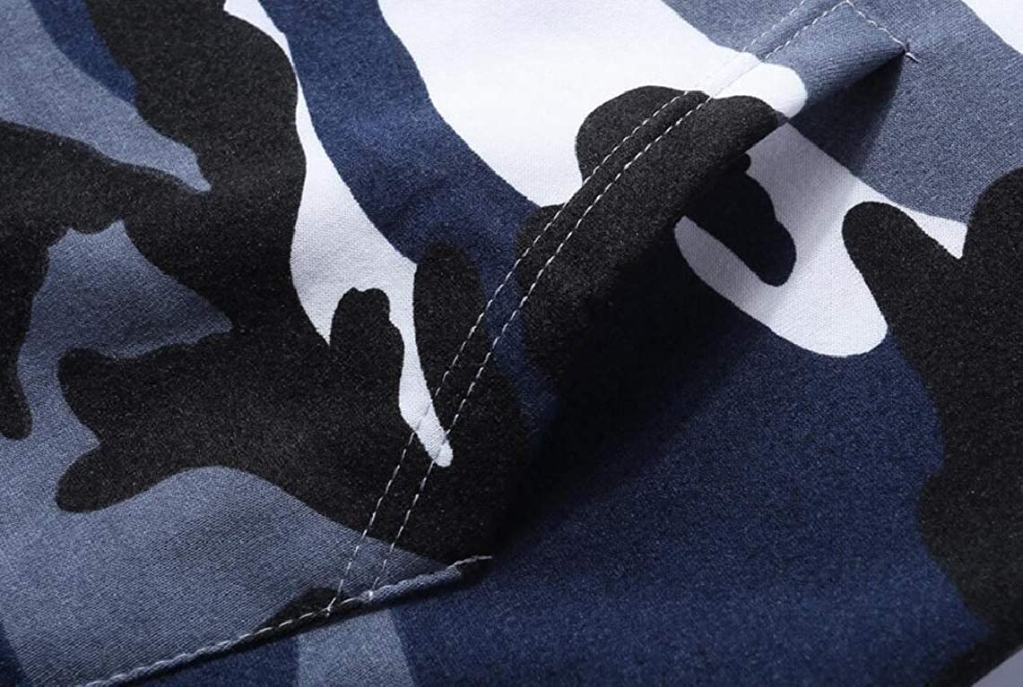 Yayu Mens Camo Hoodies Stylish Loose Fit Long Sleeve Pullover Sweatshirts
