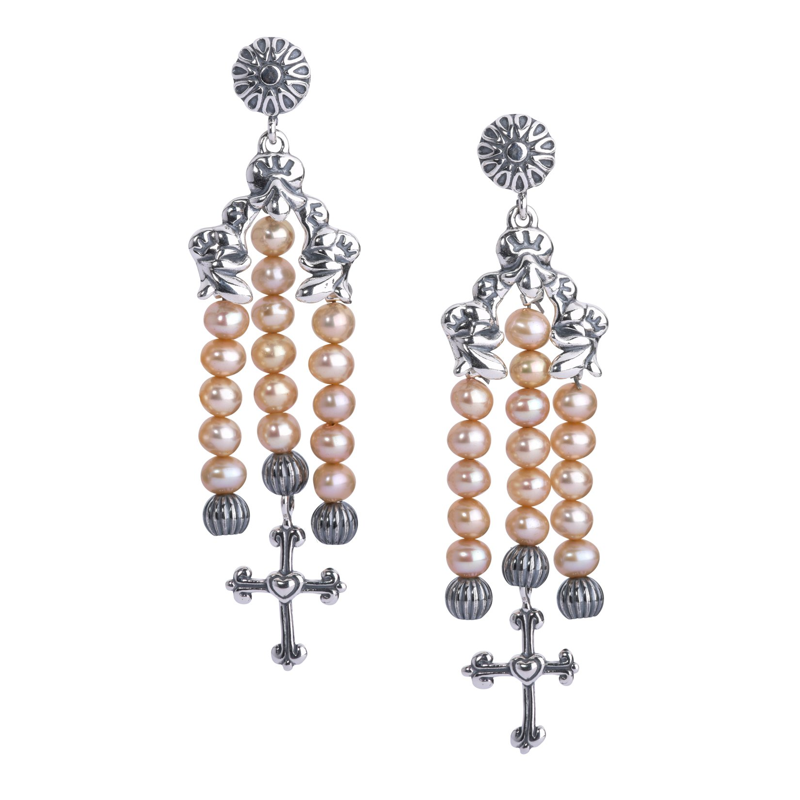 American West Sterling Silver & Gold Pearl Cross Earrings