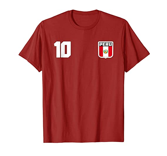 Mens Peru T-shirt Peruvian Flag Soccer Futbol Fan Jersey 2XL Cranberry
