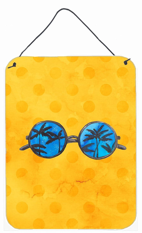 Carolines Treasures Sunglasses Yellow Polkadot Metal Print 16hx12w Multicolor