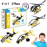 Hosim Building Blocks Toys, 219pcs 4 in 1 Planes Building Blocks Set with 4 Unique Models Bricks Assembly Toys - DIY Fun Airplane Brick Toys - Fun Education & Learning Toys Great Gift for Children