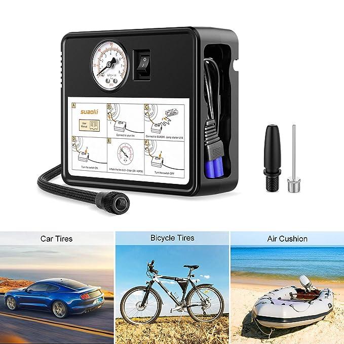 SUAOKI U18Plus Arrancador de coche 1200A, 16000mAh con Compresor aire portátil 120psi, tipo C, carga rápida USB3.0 linterna LED, hasta 7.5L de gasolina, ...