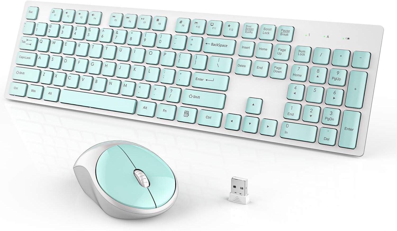 Wireless Keyboard and Mouse, WISFOX Full-Size Wireless Mouse and Keyboard Combo,2.5GHz Silent USB Wireless Keyboard Mouse Combo for PC Desktops Computer, Laptops, Windows